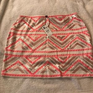 Coral/Sequins Mini Skirt